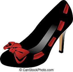 hög, sko, häl, fashionabel