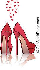 hög, skor, vektor, röd, häl