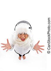 hög ståndpunkt se, av, glad, kvinna, med, radiolur