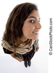 hög ståndpunkt se, av, le, ung kvinna