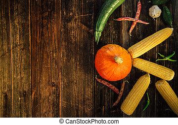 hög ståndpunkt se, av, nya vegetables, på, trä, bakgrund.