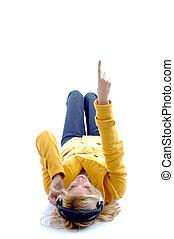 hög ståndpunkt se, av, pekande, kvinna, med, radiolur