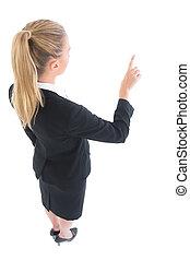 hög ståndpunkt se, av, ung, affärsverksamhet kvinna, pekande