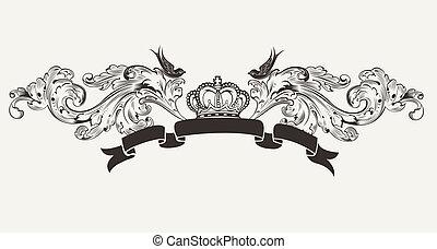 hög, text, kunglig, baner, utsirad