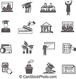 hög utbildning, ikon, svart