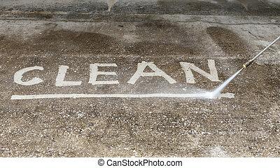 hög, utomhus, jet, golv, vatten påtryckning, rensning
