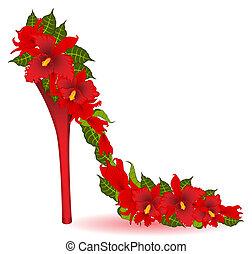 hög, vektor, häl, orchids., röd