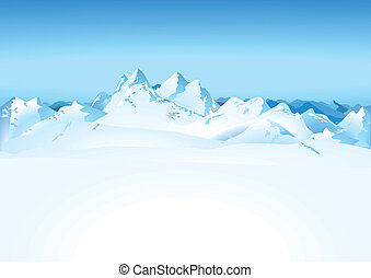 höga fjäll, in, den, snö