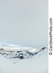 höga fjäll, under, snö, in, den, vinter