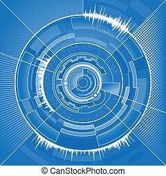 höga teknologiska, cirkel