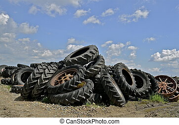 högar, jättestor, tröttar, gammal, traktor