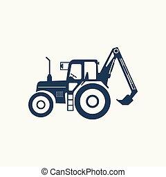höger, traktor, lift., ikon