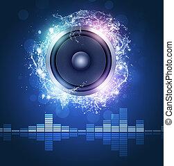 högljudd högtalare, musik, affisch