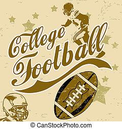 högskola, amerikansk fotboll, grunge, affisch