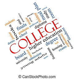 högskola, begrepp, ord, moln, meta