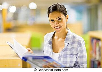 högskola, flicka läsa, a, bok