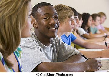 högskola studerande, in, a, universitet föreläs