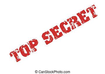 högsta hemlighet, text, stämpel, tryck, med, röd, bläck