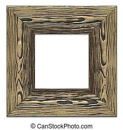 högt, detaljerad, tom, föreställa inramar, grov, brons, målad, trä struktur, isolerat, vita, bakgrund