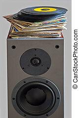 högtalare, 45, arkivalier, lagt, vinyl, rpm