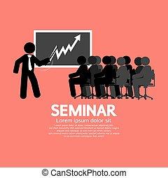 högtalare, audiensen, seminar.