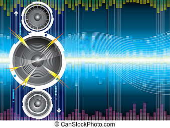högtalare, audio, våg