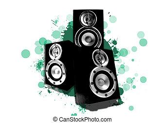 högtalare, cirklarna, tre, grön, stänk, cyan