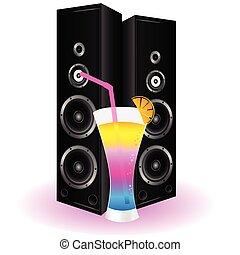 högtalare, cocktail, illustration