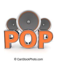 högtalare, pop, �, apelsin