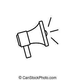 högtalare, skissera, ikon