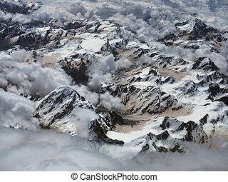 höhe, spitzen, above:the, eis, clouds., hoch, kumulus, gletscher, himalayan, weißes, durchsichtig, fotografiert