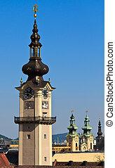 höher, linz, landtag, -, /, österreicher , turm, landhaus
