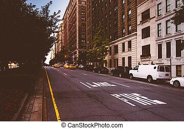 höher, seite, park, york., neu , manhattan, osten, allee