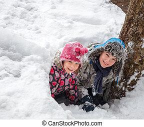 höhle, kinder, schnee, spielende