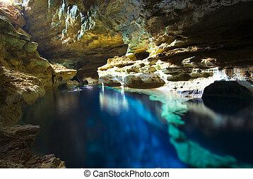 höhle, teich, schwimmender
