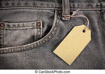 höhlen jeans, mit, preisetikett