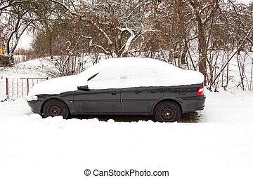 höjande, bil, övergiven, snö