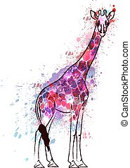 höjande, giraff, grunge, stänk, färgrik