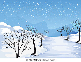 höjande, plats, snö