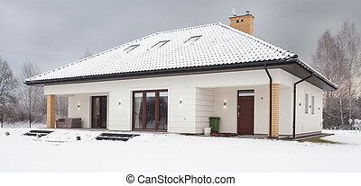 höjande, singel, snö, familj, hus