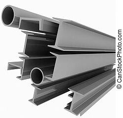 höjdpunkt teknik, bakgrund, -, stål, profiler