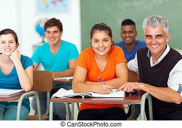 höjdpunkt utbilda lärare, med, grupp, av, deltagare