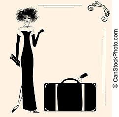 hölgy, és, bőrönd