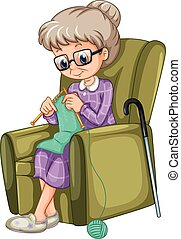 hölgy, öreg, szék, kötés