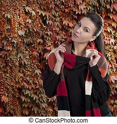 hölgy, alatt, ősz, szvetter