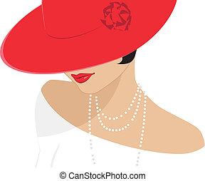 hölgy, alatt, egy, piros kalap