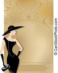 hölgy, alatt, fekete, -ban, retro, poszter