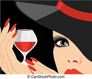 hölgy, alatt, kalap