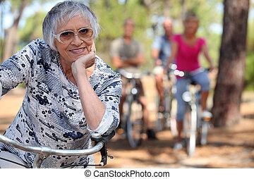 hölgy, csokor, öreg, biking.