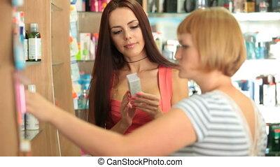 hölgy, fiatal, vásárlás, kozmetikum